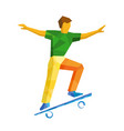 skateboarder jump on skateboard isolated on white vector image