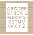 stencil template of alphabet on wooden background vector image vector image