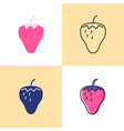 strawberry icon set in flat and line styles vector image