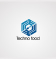 techno food in box logo concept icon element and vector image vector image