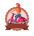 template vintage logo with woman riding retro vector image