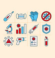 thermometer and covid19 test icon set line and fil vector image vector image