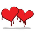 two cartoon hearts shedding bloodvalentines vector image