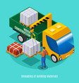 unloading of building materials vector image vector image