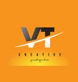 vt v t letter modern logo design with yellow vector image vector image