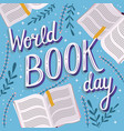 world book day hand lettering typography modern vector image