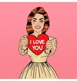 Young Pretty Pop Art Woman Holding Big Red Heart vector image