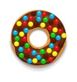 Chocolate donut with candies icon cartoon style vector image