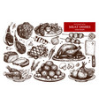 collection of hand drawn meat vector image