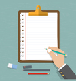 hand holding pencil with paper and clipboard vector image