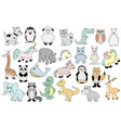 set with baby animals cartoon vector image