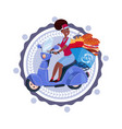 woman deliver food riding retro scooter delivery vector image