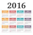 2016 Calendar vector image vector image