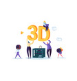 3d printing technology concept people characters vector image vector image