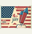 4th july poster grunge retro metal sign vector image