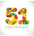 51 years anniversary circle colorful logo vector image vector image
