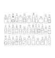 alcohol bottles line icons set drinks object for vector image vector image