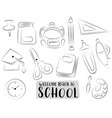 back to school icons set black and white outline vector image vector image