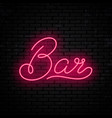 bar neon inscription vector image vector image