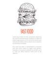 Big freehand hamburger or cheeseburger fast food