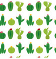cactus icon collection seamless pattern background vector image vector image