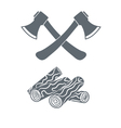 Camp ax and firewood icon vector image