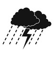 cloud thunder icon simple black style vector image
