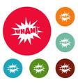 comic boom wham icons circle set vector image vector image
