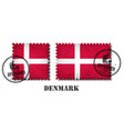 denmark or danish flag pattern postage stamp with vector image