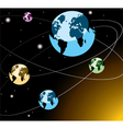 earths on orbits vector image vector image