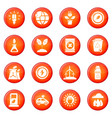 ecology icons set red vector image vector image
