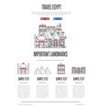 egypt travel infographics in linear style vector image vector image