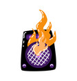 flat burning loudspeaker icon vector image vector image