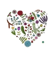 Floral heart shape for your design vector image vector image