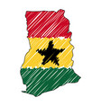 ghana map hand drawn sketch concept vector image