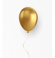 glossy realistic gold baloon on transparent vector image