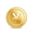 Golden isolated yen coin on the white background vector image