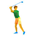 golf player with green and yellow patterns vector image vector image