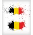grunge belgian ink splattered flag vector image vector image
