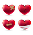heart injury with adhesive elastic medical plaster vector image vector image