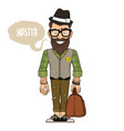hipster in a hat and glasses vector image vector image