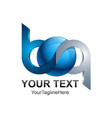 initial letter bq logo template colored silver vector image