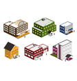 isometric building collection vector image vector image