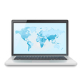 Laptop with World map vector image vector image