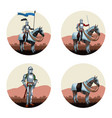 medieval warriors rounds icons vector image