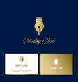 poetry club logo gold pen flower tulip vector image vector image