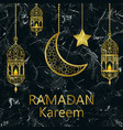 ramadan kareem gold and black marble template vector image