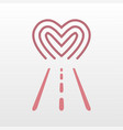 road way to heart logo icon vector image vector image