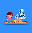 robot builds a sand castle with little child on vector image