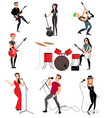 rock musicians with guitars vector image vector image